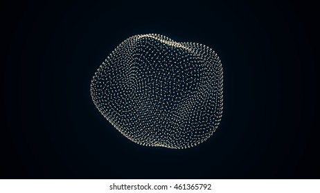 metamorphose of amorphous shape from dots and lines, abstract animation of future shape