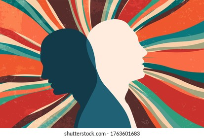 Metaphor bipolar disorder mind mental. Double face. Split personality. Concept mood disorder. Dual personality concept. 2 Head silhouette. Imagination. Mental health. Starburst background