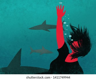 Metaphor illustration of a woman sinking in the water surrounded by sharks