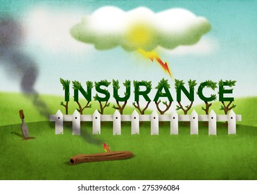 A metaphor of investment financial industry where insurance assures the protection policy members during unfortunate events like fire, accident and severe weather. Textured Digital Art Illustration.