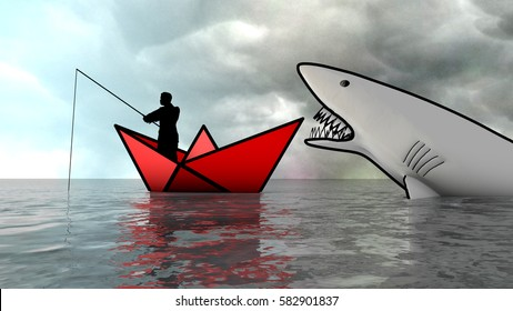 Metaphor of man fishing who does not see the danger coming. Metaphor. 3D Rendering