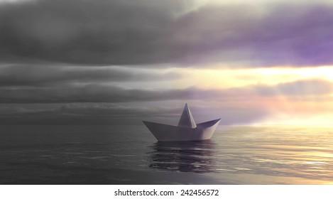 Metaphor. Paper boat swim from dark past into light future.