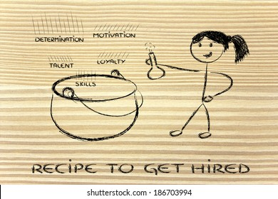 metaphor recipe of the perfect candidate for a job offer, girl version