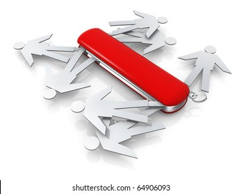 Metaphor of a swiss knife full of people .