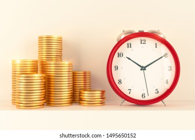 metaphor - time to make a lot of money or time is money - 3d illustration