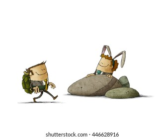metaphor of The Tortoise and the Hare in business. illustration isolated, white background