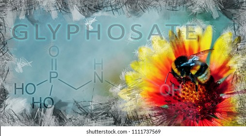 metaphorical illustration showing the impact of glyphosate on biodiversity