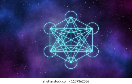 Metatron cube in universe illustration background.