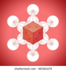 Metatron's cube with platonic solids - hexahedron