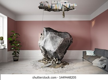 meteor falling into the living room. 3d rendering concept
