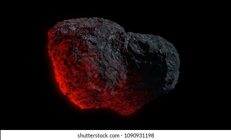 meteor isolated on black background, glowing meteorite in outer space (3d science fiction illustration, elements of this image are furnished by NASA)