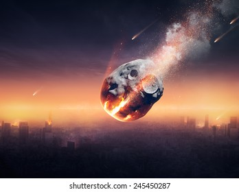 Meteor shower destroying city on earth - 3D artwork -conceptual global disaster