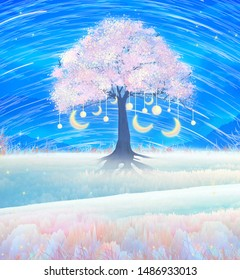 A meteor under the stars at night a cherry tree with a moon ornament on the grass gives off a faint bokeh illustration background poster