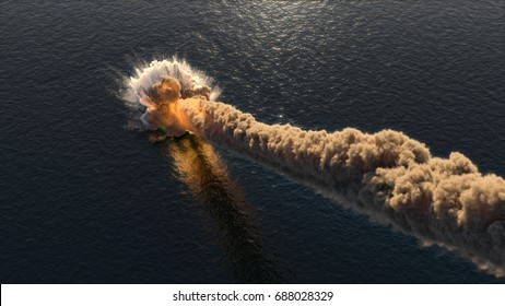 Meteorite falls into the ocean 3d illustration
