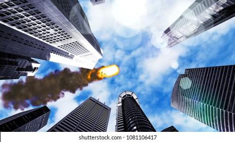 Meteorite flying over the city 3D rendering