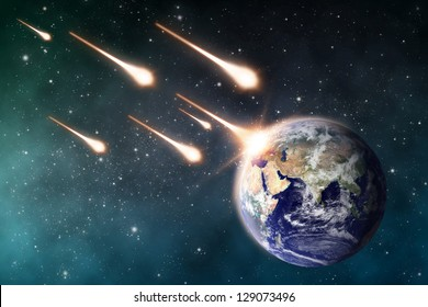 """meteorite impacts the Earth space scene  """"Elements of this image furnished by NASA"""""""