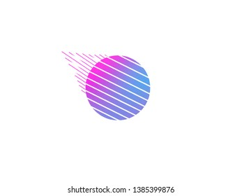 Meteorite logo shape stylized, colored spheres circle with lines, blue pink purple illustration with background