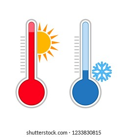 Meteorology thermometers. Measuring hot and cold temperature. Snowflake, sun icons.