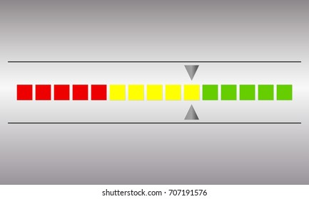 Meter and gauge icon. Horizontal speedometer with red, yellow and green colors. Progress indicator symbol.