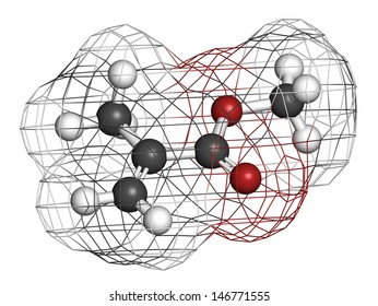 Methyl methacrylate molecule, poly(methyl methacrylate) or acrylic glass building block. Atoms are represented as spheres with conventional color coding: hydrogen (white), carbon (grey), etc