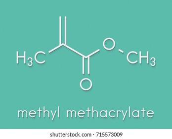 Methyl methacrylate molecule, poly(methyl methacrylate) or acrylic glass building block. Skeletal formula.
