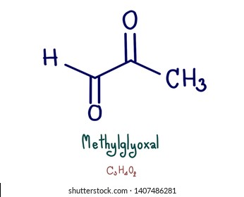 Methylglyoxal, also called pyruvaldehyde or 2-oxopropanal, is the organic compound with the formula CH₃CCHO. Gaseous methylglyoxal has two carbonyl groups, an aldehyde and a ketone. Blue draw