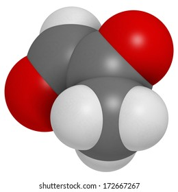 Methylglyoxal (pyruvaldehyde) molecule. Produced by glycolysis; is cytotoxic. Atoms are represented as spheres with conventional color coding: hydrogen (white), carbon (grey), oxygen (red).