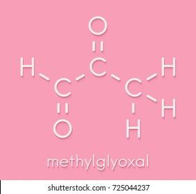 Methylglyoxal (pyruvaldehyde) molecule. Produced by glycolysis; is cytotoxic. Skeletal formula.