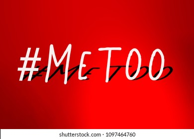 MeToo hashtag on abstract blur light gradient red background. #metoo as a new movement. As part of anti sexual harassment.