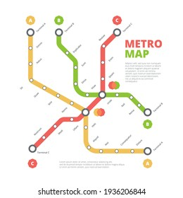 Metro map. City railway road direction transportation route urban lines colored scheme