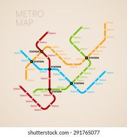 Subway Map Design.Metro Subway Map Design Template Transportation Stock Vector