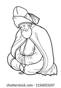 mevlevi  mevlana  illustration  drawing
