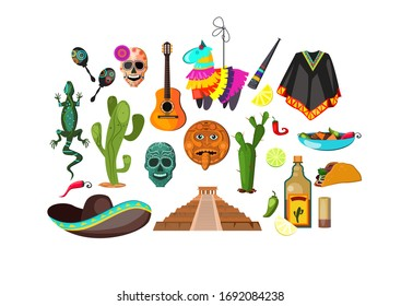 Mexican attributes illustration. Cloth, accessory, national style. Ethnography concept. illustration can be used for topics like Mexica, adventure, trip