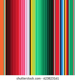 Mexican Blanket Stripes Seamless Pattern.