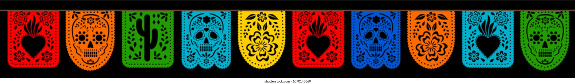 Mexican bunting for Day of the Dead (Dia de los Muertos). Horizontal web banner