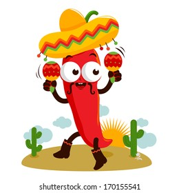 Mexican cartoon mariachi chili pepper playing music with maracas and dancing in the desert.