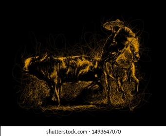 Mexican Charro riding a horse, chasing a bull