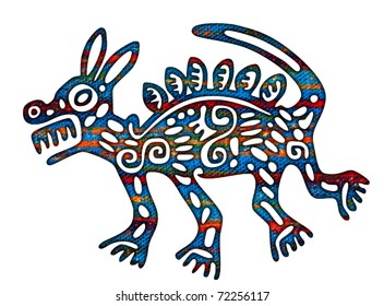 Mexican Coyote Illustration (aztec traditional style)