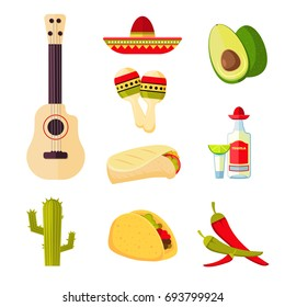 Mexican cuisine cartoon vegetables, food and drinks stock menu icons. Mexican traditional cuisine, illustration of mexican drink tequila and chili pepper