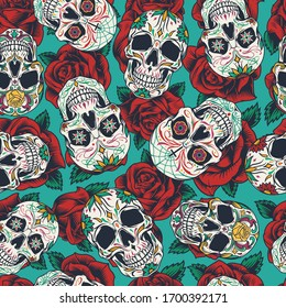 Mexican Day of Dead seamless pattern with colorful calaveras on rose flowers background in vintage style illustration