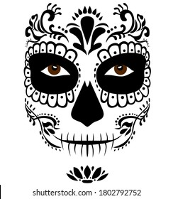 Mexican death mask La Catrina for santa muerte - day of the dead holiday, feast.