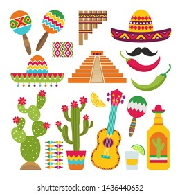 Mexican elements. Set of traditional Mexican symbols for various design projects. cactus and pyramid, pepper and tequila illustration
