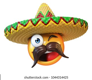 Mexican emoji isolated on white background, emoticon with sombrero and mustache 3d rendering