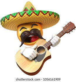 Mexican emoji playing guitar isolated on white background, emoticon mariachi with sombrero and mustache 3d rendering