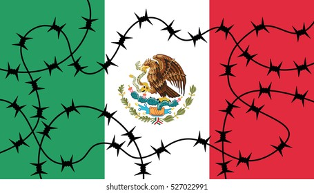 Mexican flag with barbed wire as metaphor of closing borders between Mexico and USA. Barrier and closure of national frontier, prevention against illegal immigration.