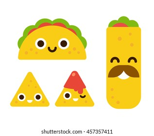 Mexican food with cute smiling faces. Taco, burrito and nachos with salsa in flat cartoon geometric style.