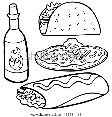 Mexican Food Items Line Art Stock Illustration 35554465