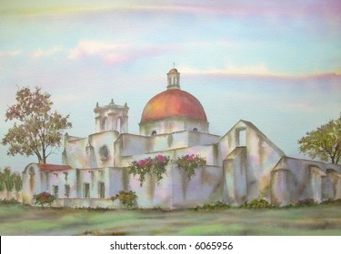 "Mexican Hacienda, of Vicencio, Puebla, Mexico; 50x70 cms. = 20""x28"" # 96-106"