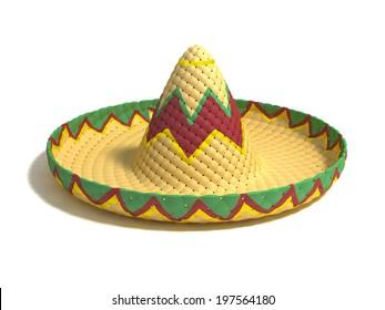 mexican hat sombrero 3d illustration