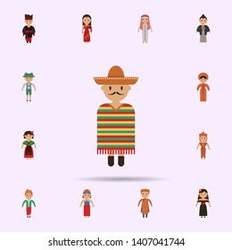 Mexican, man cartoon icon. Universal set of people around the world for website design and development, app development